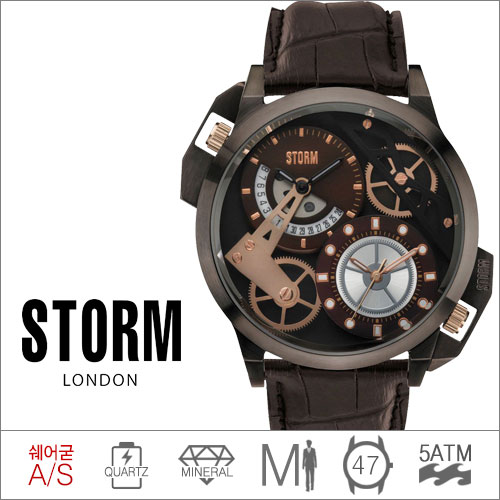 DUALON BROWN LEATHER STORM (쿼츠/47mm) [판매처 A/S보증]