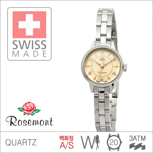 RS#1-02 [백화점AS] 우림FMG본사정품 RS1-02 MADE IN SWISS {ROSEMONT 로즈몽} ANTIQUE TOUCH ROSE 앤티크 3ATM 생활방수 (쿼츠:20mm)