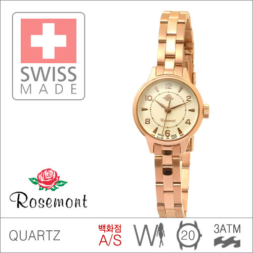 RS#1-01 [백화점AS/당일발송] 우림FMG본사정품 RS1-01 MADE IN SWISS {ROSEMONT 로즈몽} ANTIQUE TOUCH ROSE 앤티크 3ATM 생활방수 (쿼츠:20mm)